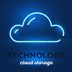 Vector illustration of realistic neon cloud with wires and text technology, cloud storage on dark blue background. Glowing neon light tube art style design for cloud technology theme