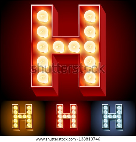 Vector illustration of realistic old lamp alphabet for light board. Red Gold and Silver options. Letter H