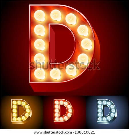 Vector illustration of realistic old lamp alphabet for light board. Red Gold and Silver options. Letter D