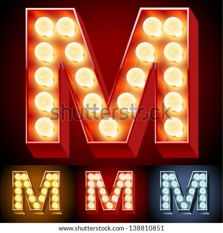 Vector illustration of realistic old lamp alphabet for light board. Red Gold and Silver options. Letter M