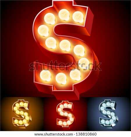 Vector illustration of realistic old lamp alphabet for light board. Red Gold and Silver options. Symbols