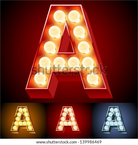 Vector illustration of realistic old lamp alphabet for light board Red Gold and Silver options Letter A