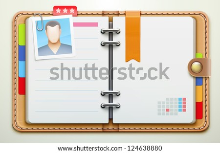 Vector illustration of realistic overhead view of a leather personal organiser/planner
