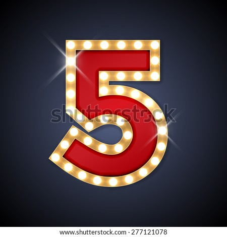 Vector illustration of realistic retro signboard number 5 (five). Part of alphabet including special European letters.