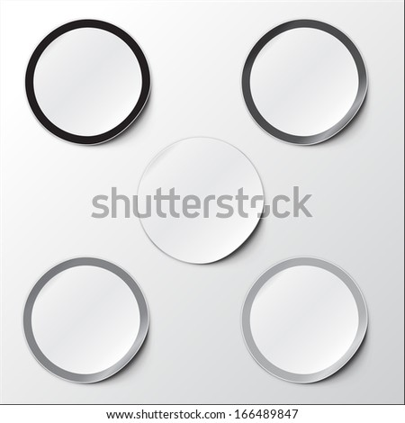 Vector illustration of Realistic Round Stickers or Notes. With peeled off corner and shadow. Place for your text. EPS 10. Black and white set.