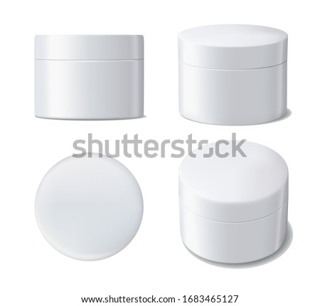 Vector illustration of realistic white plastic jar for cosmetics isolated on white background Zdjęcia stock ©