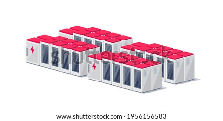 Vector illustration of rechargeable lithium-ion battery energy storage stationary for renewable electric power stations. Backup power energy storage cloud server system isolated on white background.