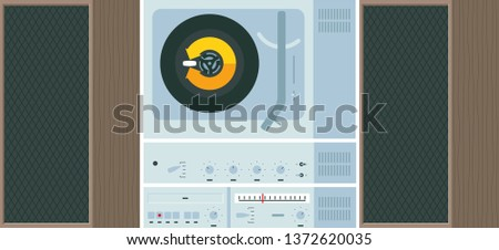 Vector illustration of record deck, and stereo system