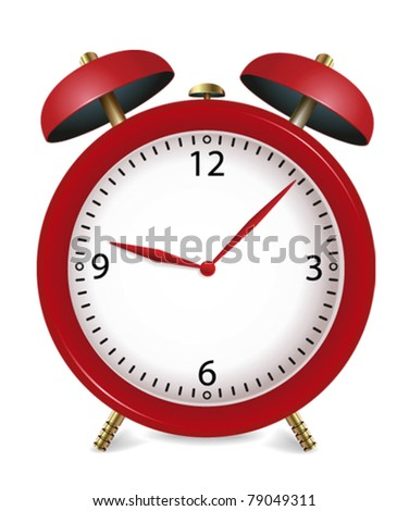 vector illustration of red alarm clock - stock vector