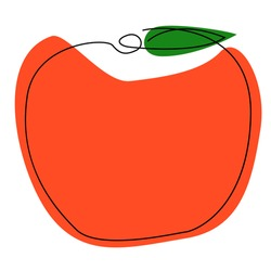 Vector illustration of red apple on white background. Minimal and abstract art for design, patterns, decoration, etc