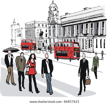 Vector illustration of red bus in London, England