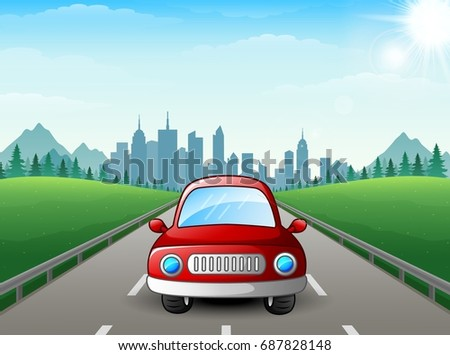 vector illustration of red car
