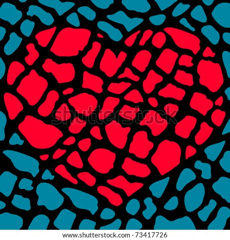 vector illustration of red heart consisting of small broken parts