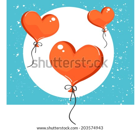 Vector illustration of red heart-shaped balloons. Isolated on background #203574943