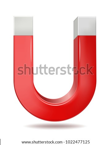 Vector illustration of red horseshoe magnet