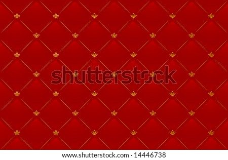 Vector illustration of red leather background with golden pattern - stock vector