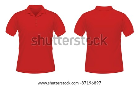 Vector illustration of red men\'s polo shirt