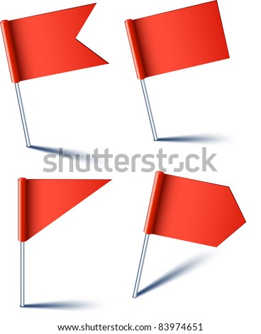 Vector illustration of red pin flags.