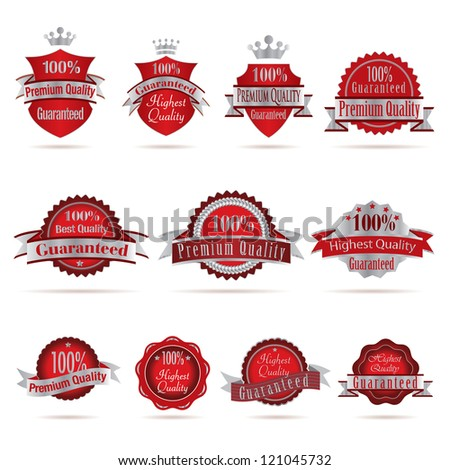 Vector illustration of red silver labels.