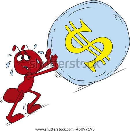 Vector illustration of red sisyphus ant roll boulder uphill