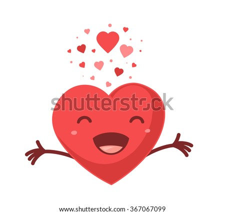 Vector illustration of red smiling heart on white background. Art design for Valentine's Day greetings and card, web, banner, poster, flyer, brochure, print.