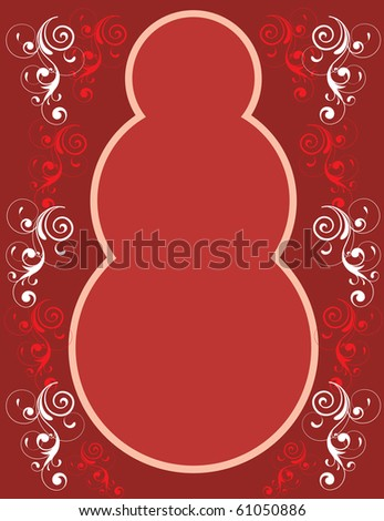 Vector Illustration of Red Snowman Border.