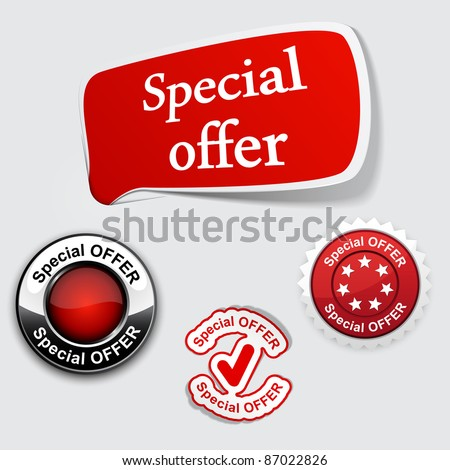 Vector illustration of red Special offer tags. Just place labels on any texture.
