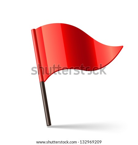 Vector illustration of red triangular flag