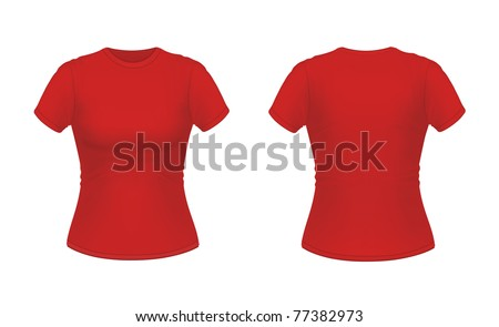 Vector illustration of red women's T-shirt