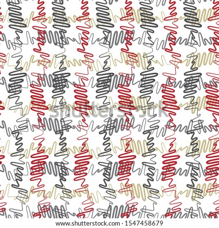 Vector illustration of red, yellow, green and grey scribbled warped vertical stripes. Scribble texture, textile rapport. Seamless repeat pattern for gift wrap, textile, fabric, scrapbooking, fashion