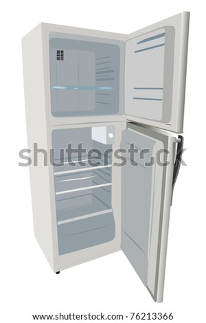 vector illustration of refrigerator under the white background
