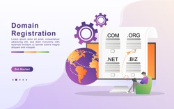 Vector illustration of registration & domain name concept with
