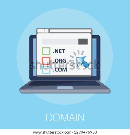 """Vector illustration of registration & domain name concept with """"domain"""" web and website hosting icon."""