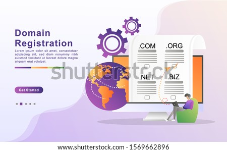Vector illustration of registration & domain name concept with 'domain' web and website hosting icon. Flat design for landing page, banner, web, template, marketing. Stock photo ©