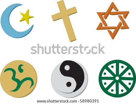 Vector Illustration of 6 religious icons in 3D style. - stock vector