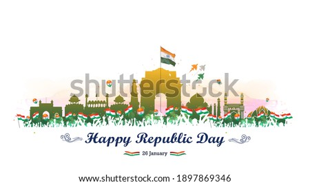 vector illustration of Republic day of India background, celebration, Indian army soldiers parade, tricolor flag, India get, red fort, monuments skyline, fighter Jet and kite flying