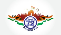 Vector illustration of Republic day of India 72 celebration background, soldiers saluting tricolor flag, India get, red fort, monuments skyline, fighter Jet and kite flying creative ideas