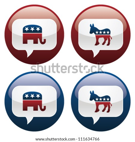 Vector illustration of Republican and Democrat elections buttons.  EPS10 file, with transparency and gradients.