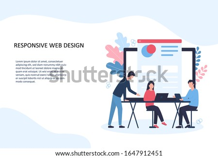 Vector illustration of responsive web design. A team of programmers develops a site, checks adaptation for desktop and mobile devices, conducts cross-browser testing. Template for website landing page