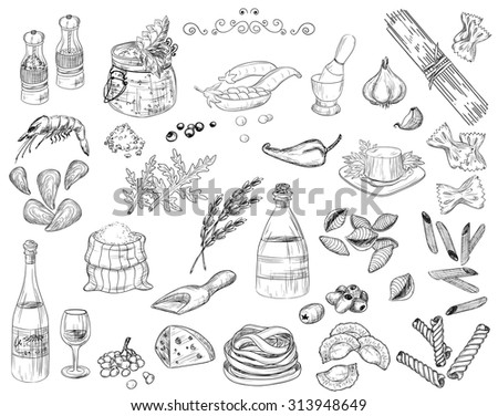 Vector illustration of Restaurant hand-drawing Food Design