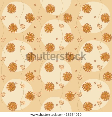 Vector illustration of retro abstract flowers Background. Pastel shades floral pattern.