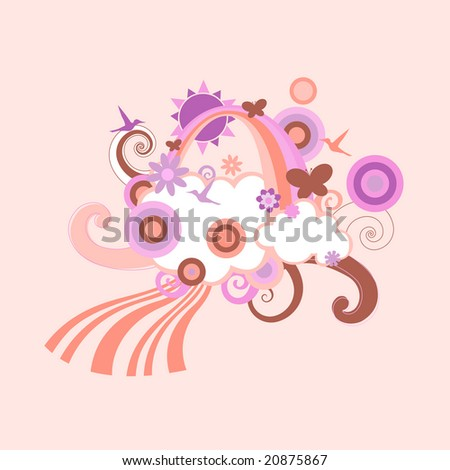 Vector illustration of  retro Childrens' Background
