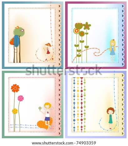 Vector Illustration of retro design greeting card set