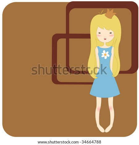 Vector Illustration of retro design greeting card with little girl and copy space for your text