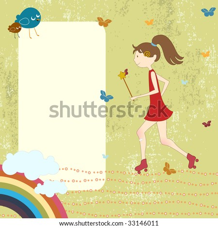 Vector Illustration of retro design greeting card with little girl on rollerblades and copy space for your text