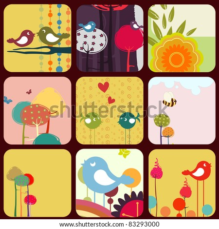 Vector Illustration of retro Flowery design greeting cards with birds, rainbow and trees.