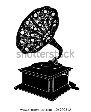 Vector illustration of retro gramophone isolated on white background