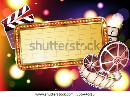 Vector illustration of  retro illuminated Movie marque Blank sign - stock vector