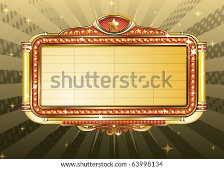 Vector illustration of retro illuminated Movie marquee Blank sign