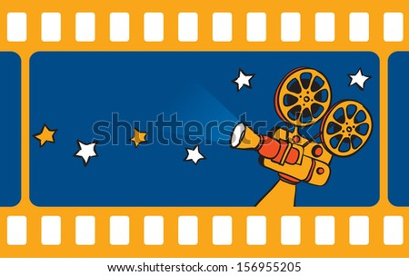 Vector illustration of retro motion picture camera and film frameÃ?Â?? Easy-edit layered vector EPS10 file scalable to any size without quality loss. High resolution raster JPG file is included.
